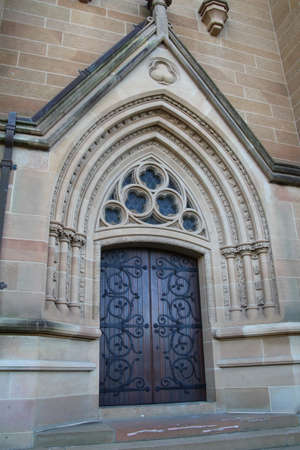 mary's: Ornate doorway of the main entrance to ST Marys cathedral in Sydney, Australia. Stock Photo