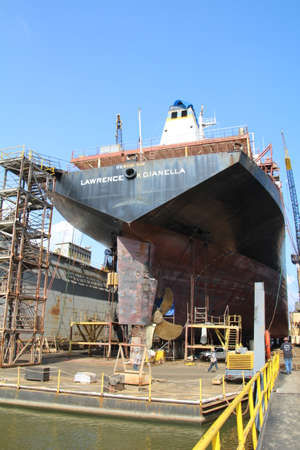Mobile, USA - May 18th, 2016: The oil tanker USS Lawrence H Gianella in dry dock in Mobile, Alabama. Editorial