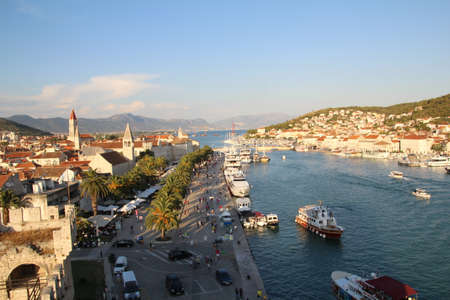 belltower: View over the old town in the city of Trogir, Croatia.