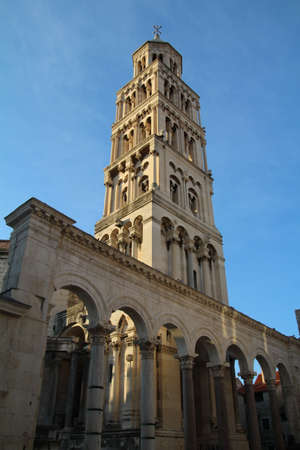 belltower: Bell tower which dominates the skyline in Split, Croatia. Stock Photo