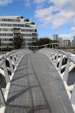 foot bridges: Foot bridge across part of False Creek in Vancouver, Canada.