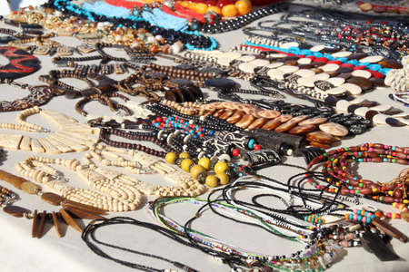 craftwork: Selection of necklaces and other jewellery made from camel bone and other local materials in an Egyptian market.