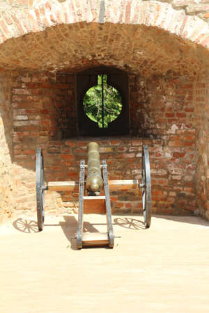 Old cannon on display on the city wall in Pecs, Hungary. Stock Photo