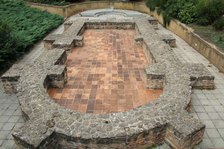 Roman ruin in front of the cathedral in Pecs, Hungary. 新聞圖片