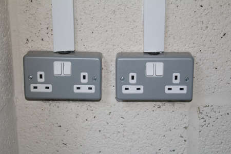 British 3 pin switched double socket. Banco de Imagens
