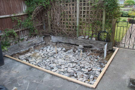 Foundations for a shed made from concrete blocks.