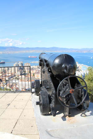 Old cannon used in the defence of Gibraltar a couple of hundred years ago. Stock Photo