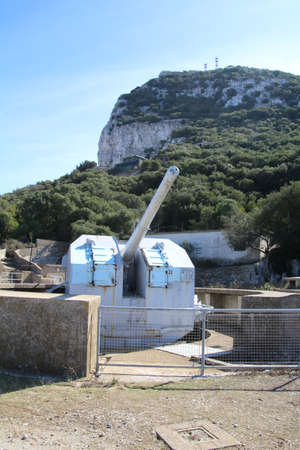 Gun emplacement dating from the second world war. These were part of the fortifications on the rock of Gibraltar during this time.
