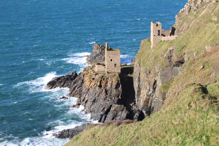 The remnants of the Crown Engine House, a tin mine in Botallack, Cornwall. Stock Photo