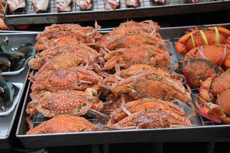 Crabs for sale in Hua Hin night market, Thailand.