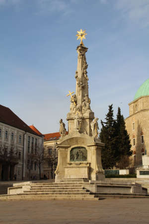 Statue of the Holy Trinity in Szechenyi Square in Pecs, Hungary.