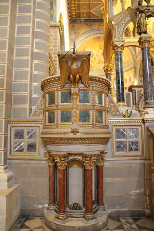Ornately decorated pulpit of Pecs cathedral in Hungary.