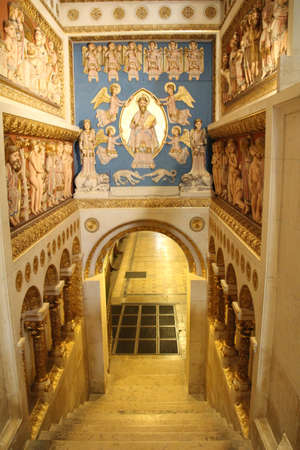 Entrance to the crypt in Pecs cathedral in Hungary. Editorial