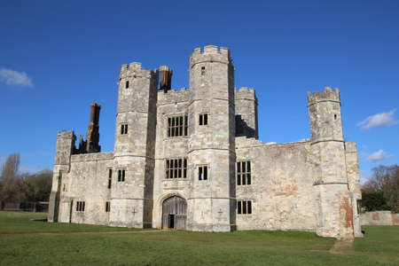 The ruin of Titchfield Abbey in Hampshire, UK. This old building is now just a crumbling shell. After decades of neglect, only the front facade is intact. Editorial