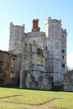 The ruin of Titchfield Abbey in Hampshire, UK. This old building is now just a crumbling shell. After decades of neglect, only the front facade is intact. Stock Photo
