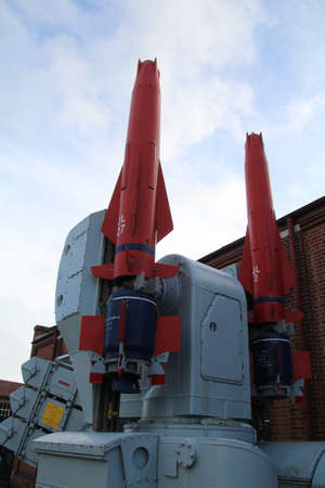 Sea dart missile on its launcher. The sea Dart is a surface to air missile carried on warships to shoot down enemy aircraft and missiles.