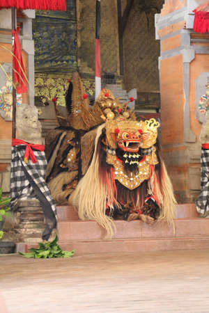 Bali, Indonesia - 31 May, 2018: Scene from the Barong, a Balinese play which tells the story of an eternal fight between good and evil spirits.