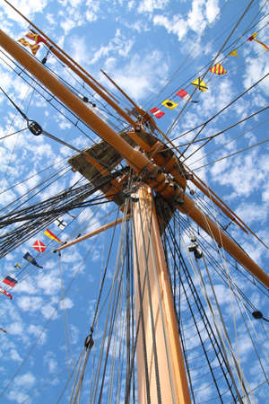 Mast and rigging of a old sailing ship.