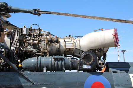 Portsmouth, UK - 5 August, 2018: Close up of the engine of a Westland Wasp. This was a small shipboard anti-submarine helicopter carried by Royal Navy frigates during the 1960s to 1980s.