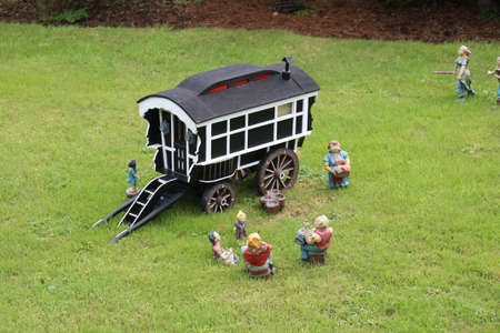 One of many figures depicting life in a model village. Stock Photo