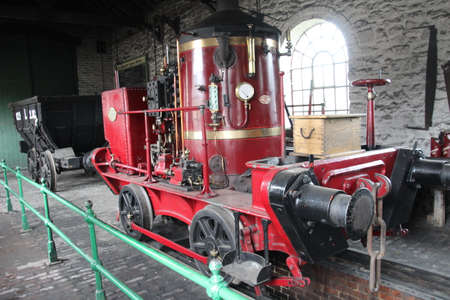 Old restored steam engine on display in Newcastle. Editorial