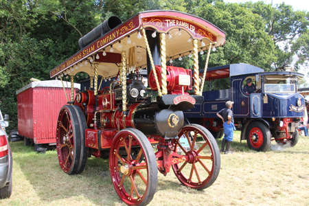 Southampton, UK - 28 July, 2019: Vintage traction engine on display at the annual Netley Steam and Craft Show. Editorial