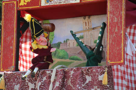 Punch and Judy show. This is a traditional puppet show dating back to the 16th century. It shows the adventures of mister Punch and various supporting figures in a series of small sketches.