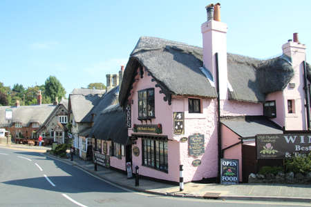 Shanklin, Isle of Wight - 26 August, 2019: Some of the many picturesque thatched buildings in Shanklin Old Village.