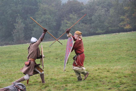 Battle, UK - 12 October, 2019: Re-enactors recreating the battle of Hastings. The purpose is to educate people about this pivotal moment in UK history in the year 1066.