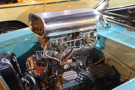 Kissimmee, USA - 9 November, 2019: Chromed V8 engine fitted in a customised classic muscle car from Americas past.