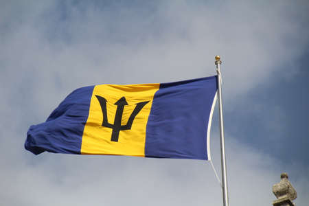 Isolated view of the national flag of Barbados.