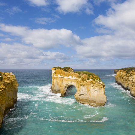 Sea stacks along the Great Ocean Road, Victoria, Australia. This is Island Arch, Loch Ard Gorge, one of Australias most popular travel destinations.
