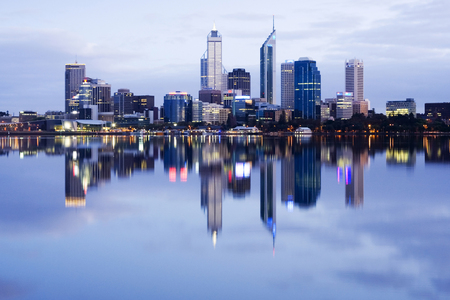 Perth Western Australia reflected in the Swan River at Dawn