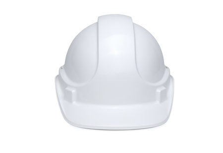 White hard hat isolated on white background with soft shadow under brim, front view.