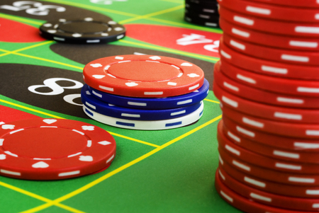 Roulette Chips are Down Stock Photo