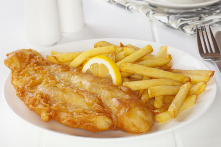 Fish and Chips on a Light Background