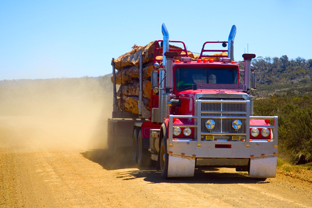 Logging Truck Kicking Up Dust in Tasmania 免版税图像