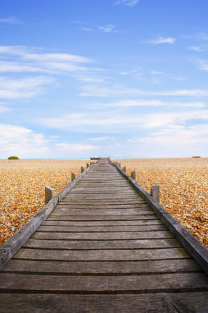 Boardwalk Pebble Beach Lydd-on-Sea Romney Marsh Kent England Ver Stock Photo