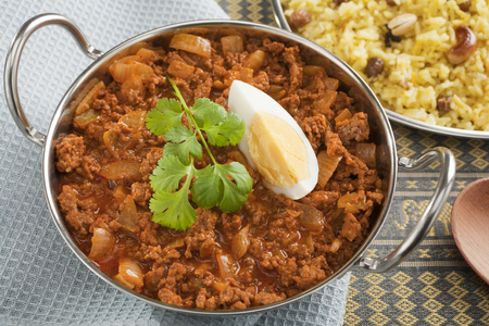 Indian Curry Keema with Egg and Rice
