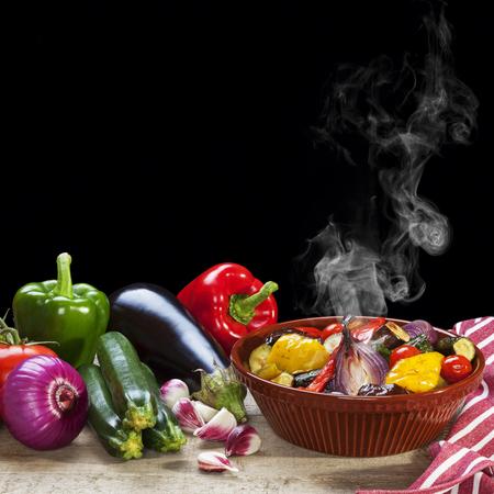 Roast Mediterranean Vegetables with Steam Stock Photo