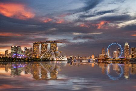 Singapore Skyline with Dramatic Sunset Sky