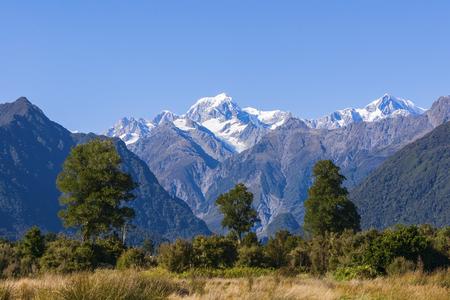 Aoraki Mount Cook and Mount Tasman from near Fox Glacier