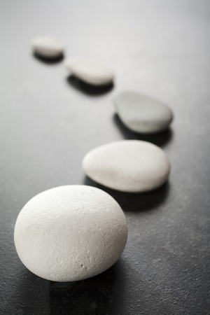 Curving Line of Grey Pebbles on Dark Background