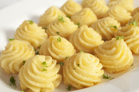 Duchess Potatoes on White