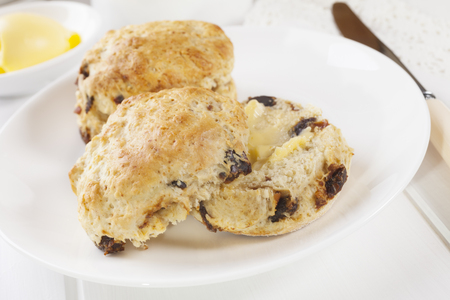 Date Scones with Butter Stok Fotoğraf