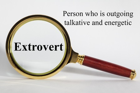 Extrovert Concept and Magnifying Glass