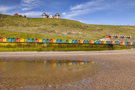 Beach Huts Whitby North Yorkshire UK Stock Photo