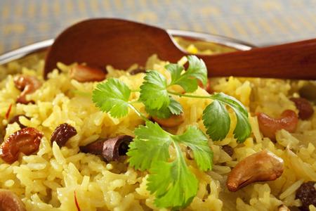 Indian Basmati Rice Pilau Close-up Stock Photo