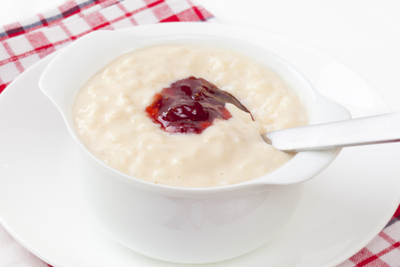 Rice Pudding with Strawberry Jam
