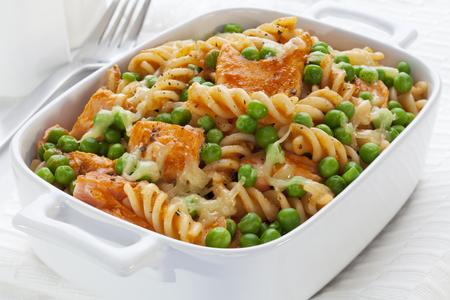 Pasta Bake with Salmon and Peas Stock Photo